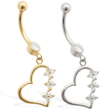 14K Real Gold (Nickel free) belly ring with Clear CZ jeweled dangling heart