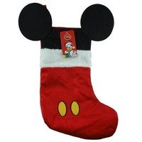 """Disney Mouse Ears 18"""" Velour Christmas Stocking with Plush Cuff (Mickey Mouse - Red)"""