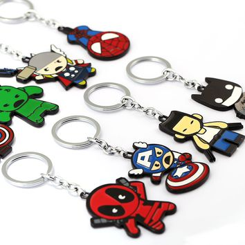 Zoeber Cartoon SpiderMan Keychain Women batMan Deadpool Cute Avengers Alloy Keychain KeyRing Chaveiro Car Key Chain