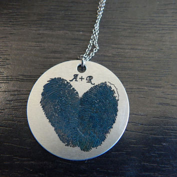 Dark Blue Personalized Custom Engraved Fingerprint Heart Pendant Necklace,Great  Birthday Gift, Chirstmas Gift, Memorial Tribute