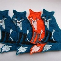 Iron On Patch - Sew On Patch - Set of 4 Fox Appliques