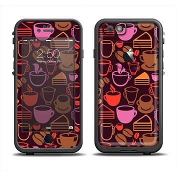 The Vector Orange & Pink Coffee Time Apple iPhone 6 LifeProof Fre Case Skin Set