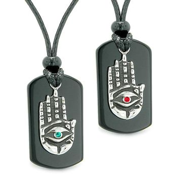 All Seeing Feeling Buddha Eye Hamsa Hand Love Couples Agate Tag Red Green Crystals Necklaces