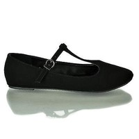 Laura Black By Classified, Dress Mary-Jane Adjustable T-Strap Round Toe Ballet Flat