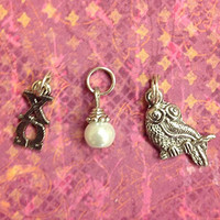 Sorority Greek Chi Omega Essential Trio of Charms - lavaliere, owl mascot, pearl dangle