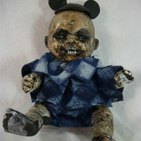 "One of A Kind Altered Art Creepy Doll ""The Happy MouskaFEAR"" Abstract Scary Odd Weird L.Cerrito Salvage Artist Doll"
