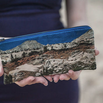 Landscape Mountains Cotton Pencil Pouch and Make Up Bag