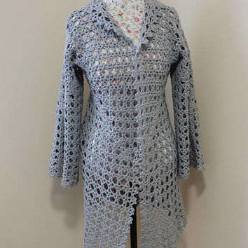Cotton Hexagonal Gray Granny Square Cardigan Handmade Crochet Cardigan, Lace Top Fashion, Lace long sleeve cardigan, Will fit size S/M