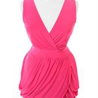 Plus Size V Neck Pink Bubble Dress, Plus Size Clothing, Club Wear, Dresses, Tops, Sexy Trendy Plus Size Women Clothes