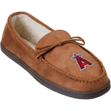 MLB Los Angeles Angels Moccasin Slipper Tan