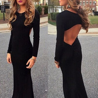 HOT LONG SLEEVE BLACK SEXY LONG DRESS