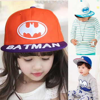 New 2015 Baby Boys Girls Snapback Hats Caps Baseball Cap Kids Children Batman pattern Hats Beanies