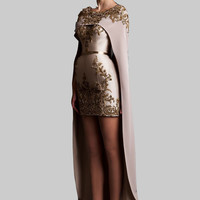 2016 Krikor Jabotian Two Piece Prom Dresses Applique Beads Detachable Shawl Long Train Mini Formal Prom Gown Evening Dress XY971