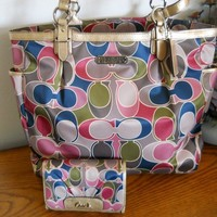 NWT COACH Gallery Scarf Print North South Multi Color Tote & Wallet 19819 47864 - Handbags & Bags