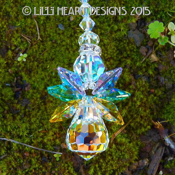 m/w Swarovski Crystal RARE EASTER STAR Angel with Rare Aurora Borealis Coated Colored Pastel Easter Colors Wings Angel Lilli Heart Designs