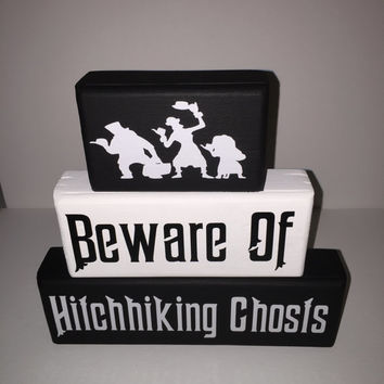 Hitchhiking Ghosts Haunted Mansion Wood Stack Blocks Painted with Decals Disney Lover