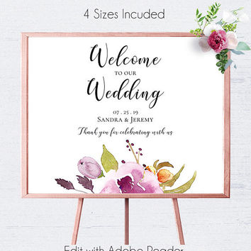 Blush Floral Wedding Sign, Printable, Download, Wedding Decor, Wedding Signs, Wedding Reception, DIY Wedding Sign,Printable Signs,Gifts Sign