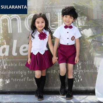 Children Cute Cotton Korean Japanese Student School Uniform for Girls Boys Kid Collar Shirt Top Pleated Skirt Shorts Tie Clothes