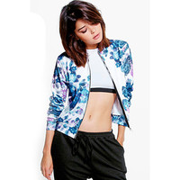 Women's Blue White Fashion Forward Long Sleeve Floral Print Chic Satin Shine Blazer Jacket