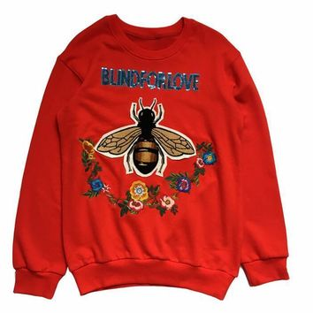 blindforlove Bead piece bee flower embroidery red long sleeve sweater top
