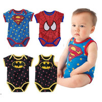newborn baby boy clothes 215 Summer new born baby clothing Cute cartoon spiderman Superman