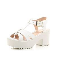 River Island Womens White snake print strappy chunky sandals