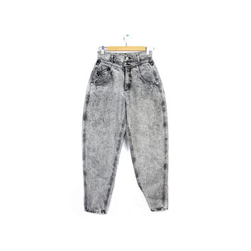"""24x28 Vtg 90s high waist LEE jeans / high waisted gray stone wash acid wash tapered  / vintage 1990s womens jeans /  24"""" waist"""