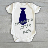 Mommy's Little Man Tie Baby Boy Onesuit Newborn (CHOOSE COLORS) Infant Bodysuit Coming Home Outfit Gift Handsome Birthday Cute