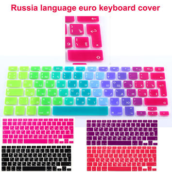 Euro version Russian language letter Silicone keyboard skin for macbook air 13 pro 13 15 17 retina Protector keyboard Sticker