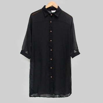 Black 3/4 Sleeve Sheer Blouse