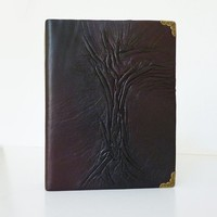 Leather Photo Album 4x6 for Boyfriend, Guy, Dad, Brother, Dark Brown Tree of Life Album, Gift for Birthday, Anniversary, Holidays, Christmas