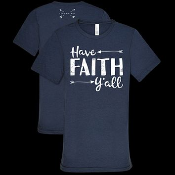 Southern Couture Lightheart Faith Y'all Triblend Front Print T-Shirt