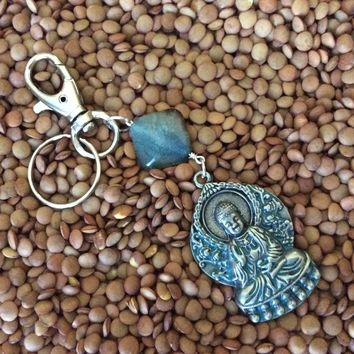 Buddha Key Chain Silver Patina with Agate Diamond Stone Handmade Protection Keychain Key Ring Meaningful Inspirational Trendy