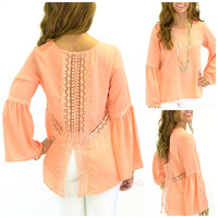 Moonlight Drive Peach Peasant Blouse