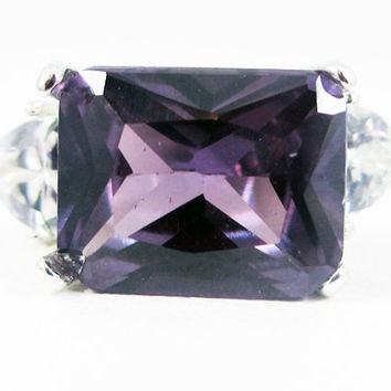 Emerald Cut Alexandrite and CZ Trillion Ring Sterling Silver
