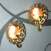 Cameo clip on earrings beautiful gilded  carved shell  vintage