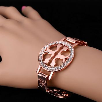 Tory Burch Popular Women Double T Letter Diamond Bracelet