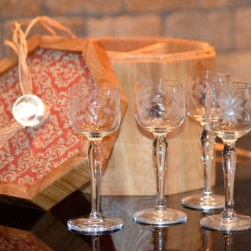 Stunning Etched Crystal Cordial Glasses (4) Gift Set In a Elegant Custom Handmade Cedar Box, Best of Old and New Making A Very Special Gift!