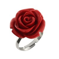 14MM Simulated Red Coral Carved Rose Flower Ring Adjustable Finger Ring