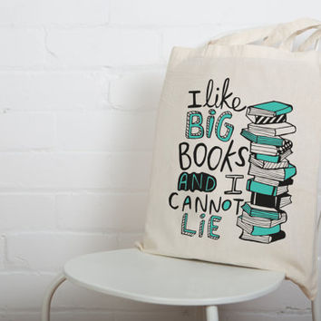 Big Books Bag - Illustrated Screen Printed Tote Bag - Made in the UK - Book Worm - Reading Pun