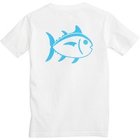 Kids Outline Skipjack Tee Shirt in Classic White by Southern Tide