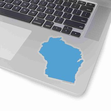 Wisconsin State Shape Sticker LIGHT BLUE