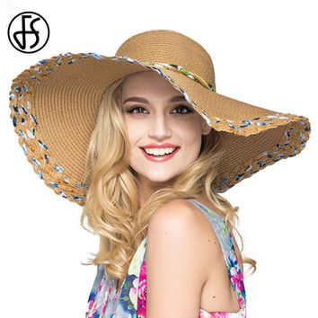 72c109d1e56 FS Sun Visors Hat 2017 Women Summer Straw Wide Brim Floppy Beach UV  Sunbonnet Kentucky Derby