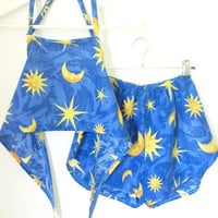 HypoxicAndLost - Handmade - Festival Outfit - Blue moon halter crop top and high waist racer shorts