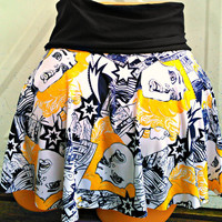 Pop art comic book girl mini skater skirt