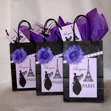 Black and Lavender French Eiffel Tower Paper Gift Bag Set with Bonjour Paris Labels, Fabric Flowers, & Matching Tags