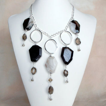 Statement Necklace Large Agate and Smokey Quartz by FiveLittleGems