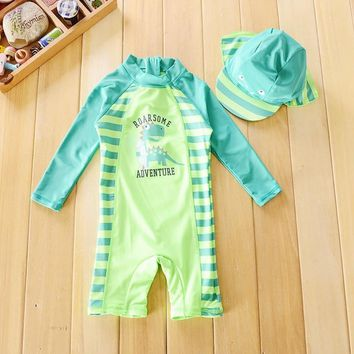 0-4Y Infant Baby Swimwear 2018 Summer One Pieces Swimsuit for Infant Boy Cute Dinosaur Print Swim Bathing Suit Beachwear Outfits