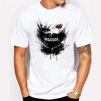 New Slim Tokyo Ghoul White Man Casual T-shirt Mens T Shirts Fashion Cotton anime Cartoon Printed tee shirt homme de marque