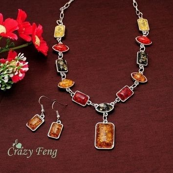 925 Sterling Silver Square Amber African Necklace Earrings Jewelry Set